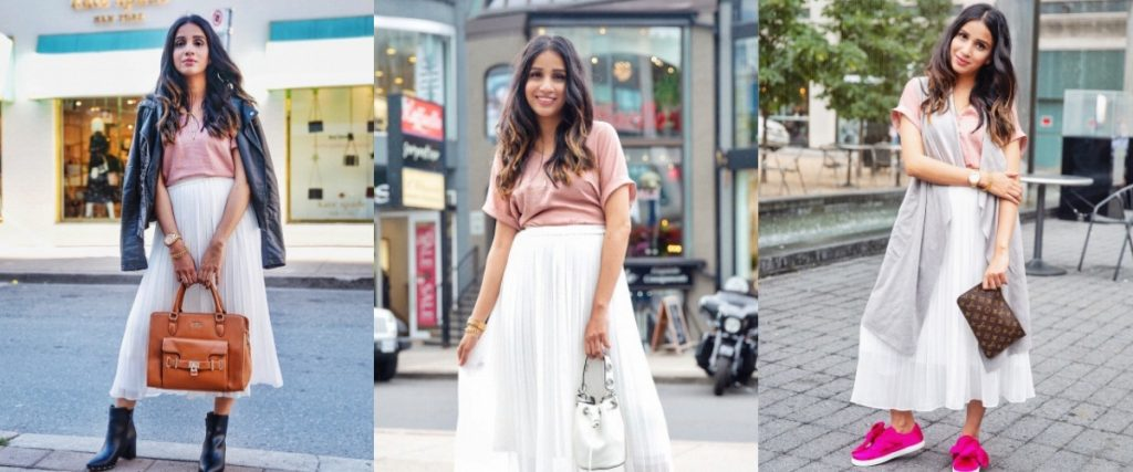 3 ways to style white skirt tulle white skirt uniqlo skirt zara white heels toronto blogger faiza inam sincerely humble pink sneakers cardigan 6