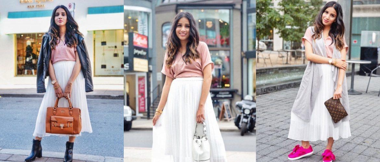 3 ways to style white skirt