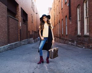 Mustard top with hat faiza inam sincerely humble forever21 boots louis vuitton fall hats