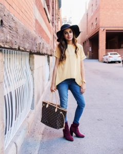 Mustard top with hat faiza inam sincerely humble forever21 boots louis vuitton 2