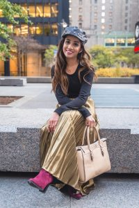 Golden pleated skirt and boots marciano skirt forever21 boots studded bakerboy hat