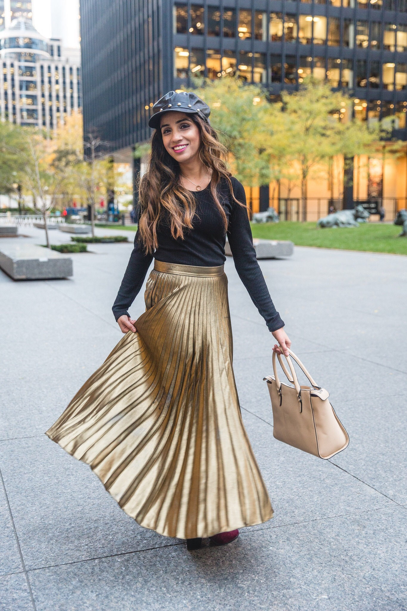 f1f3a910414c6 Golden pleated skirt and boots marciano skirt forever21 boots studded  bakerboy hat