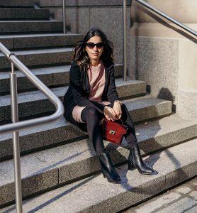 SincerelyHumble Faiza Inam OOTD Fashion style icon HM dress express crossbag pregnancy style blush pink dress 4
