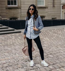 SincerelyHumble Faiza Inam OOTD Fashion style icon Shein Blazer Converse shoes pregnancy style combining blazers & runners