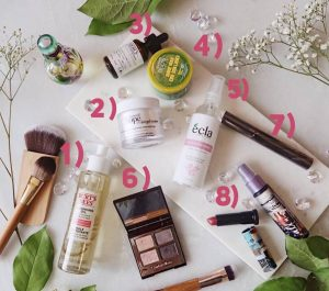 July 2018 Favorites 1 Philosophy Cream Lise waiter Mascara Kiehls Burts bee oil cleanser Charlotte Tilbury eyeshadow Urban Decay lipstick born to run 1