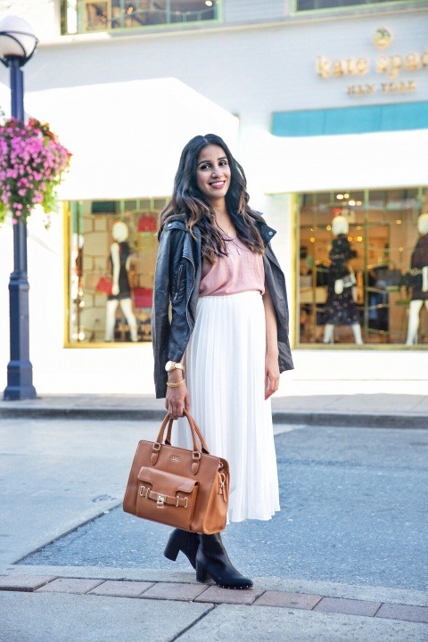 3 ways to style white skirt tulle white skirt uniqlo skirt zara white heels toronto blogger faiza inam sincerely humble leather jacket fall boots 2