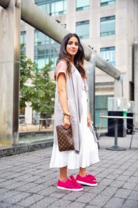 3 ways to style white skirt tulle white skirt uniqlo skirt zara white heels toronto blogger faiza inam sincerely humble pink sneakers cardigan 3