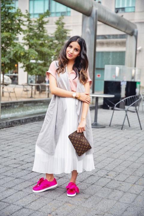 3 ways to style white skirt tulle white skirt uniqlo skirt zara white heels toronto blogger faiza inam sincerely humble pink sneakers cardigan 3
