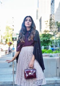 uniqlo drape mock neck blouse current obsession skirts fall wear streetstyle fall look 4