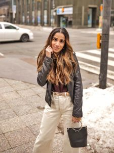 Leather jacket toronto weather cold faiza inam sincerely humble fashion blog ootd street style 4