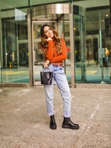 Street style boyfriend jeans Toronto fashion week ootd hm jeans asos boots faiza inam sincerely humble 1