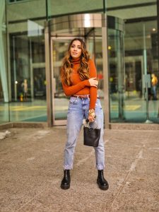 Street style boyfriend jeans Toronto fashion week ootd hm jeans asos boots faiza inam sincerely humble 2