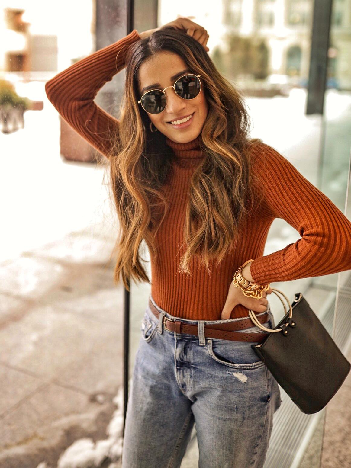 Street style boyfriend jeans Toronto fashion week ootd hm jeans asos boots faiza inam sincerely humble 3 Camel Hues for the Look