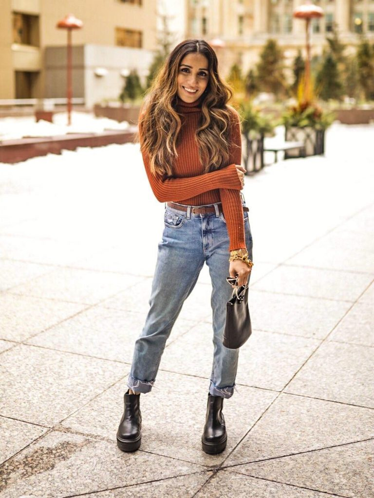 Street style boyfriend jeans Toronto fashion week ootd hm jeans asos boots faiza inam sincerely humble 4