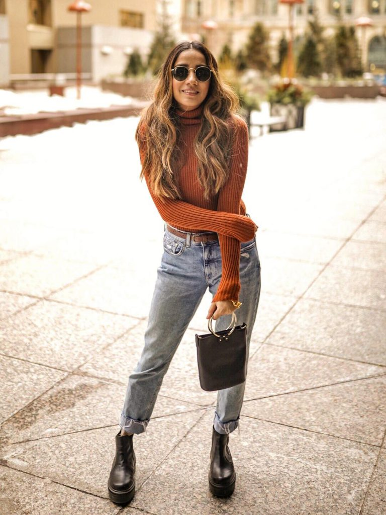 Street style boyfriend jeans Toronto fashion week ootd hm jeans asos boots faiza inam sincerely humble 5