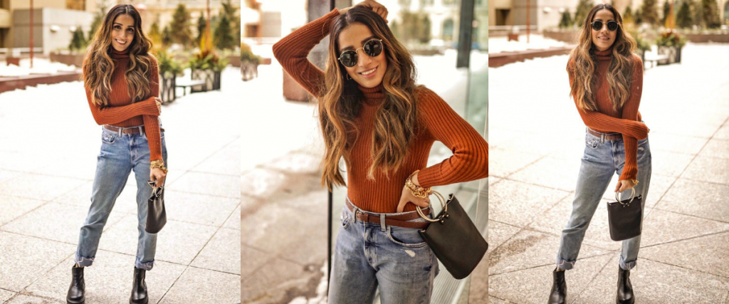 Street style boyfriend jeans Toronto fashion week ootd hm jeans asos boots faiza inam sincerely humble 7