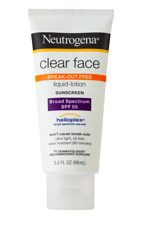 How to treat uneven skin tones hyperpigmentation Neutrogena Clear Face Liquid-Lotion Sunscreen SPF 55