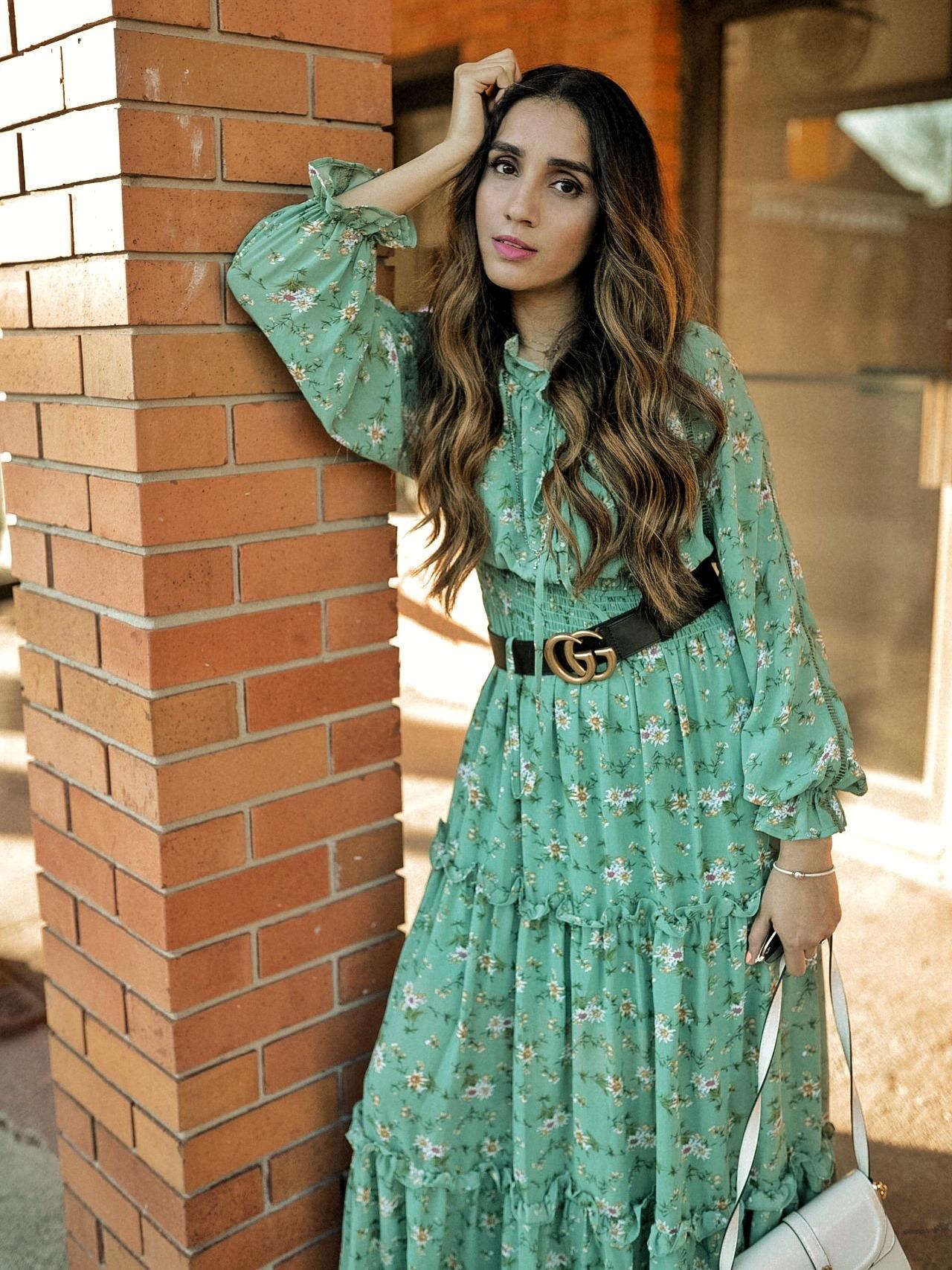Summer Dress 2019 Roundups Part 1 Faiza Inam Sincerelyhumble maxi dresses Lulus midi dresses DELPHINE SAGE GREEN FLORAL PRINT 2