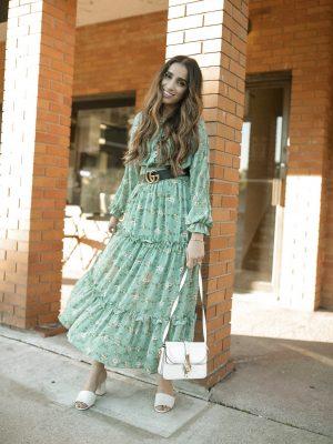 Summer Dress 2019 Roundups Part 1 Faiza Inam Sincerelyhumble maxi dresses Lulus midi dresses Delphine Sage Green Green Floral Print Midi Dress 1