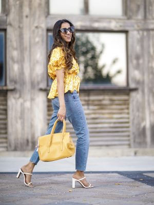 Add these Trending Summer Shoes to your Wishlist High Heels Mule Sandals by Steve Madden White heels 2019 trend Sincerely Humble Faiza Inam Puffy Sleeves Bouse Yellow Floral 4