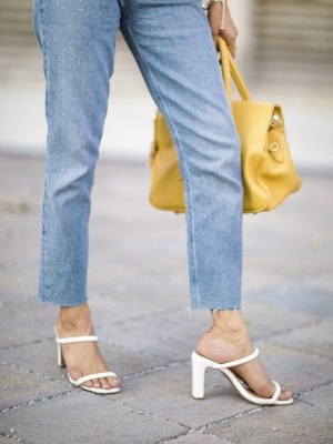 Add these Trending Summer Shoes to your Wishlist High Heels Mule Sandals by Steve Madden White heels 2019 trend Sincerely Humble Faiza Inam Puffy Sleeves Bouse Yellow Floral 5