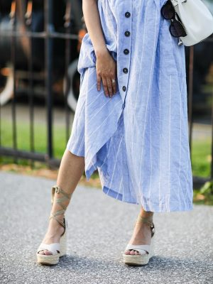 Add these Trending Summer Shoes to your Wishlist Lace up Wedges Lulus White heels 2019 trend Sincerely Humble Faiza Inam Puffy Sleeves Bouse Yellow Floral 6