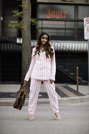 Must Have Blazers to Survive any Important Day Sincerely Humble Faiza Inam OOTD Fashion style icon Shein Blazer Converse shoes style combining blazers linen suit stripes pink 2
