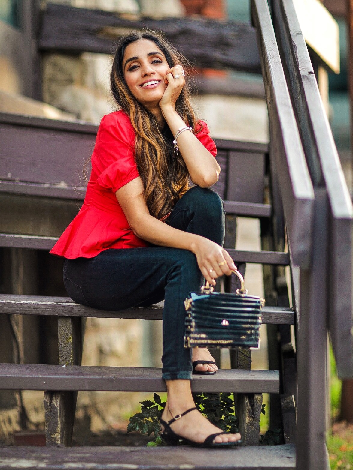 Puffy Sleeves Everyone's Raving About SHEIN Square Neck Button Front Peplum Tea Top Faiza Inam SincerelyHumble Summer Fashion 8