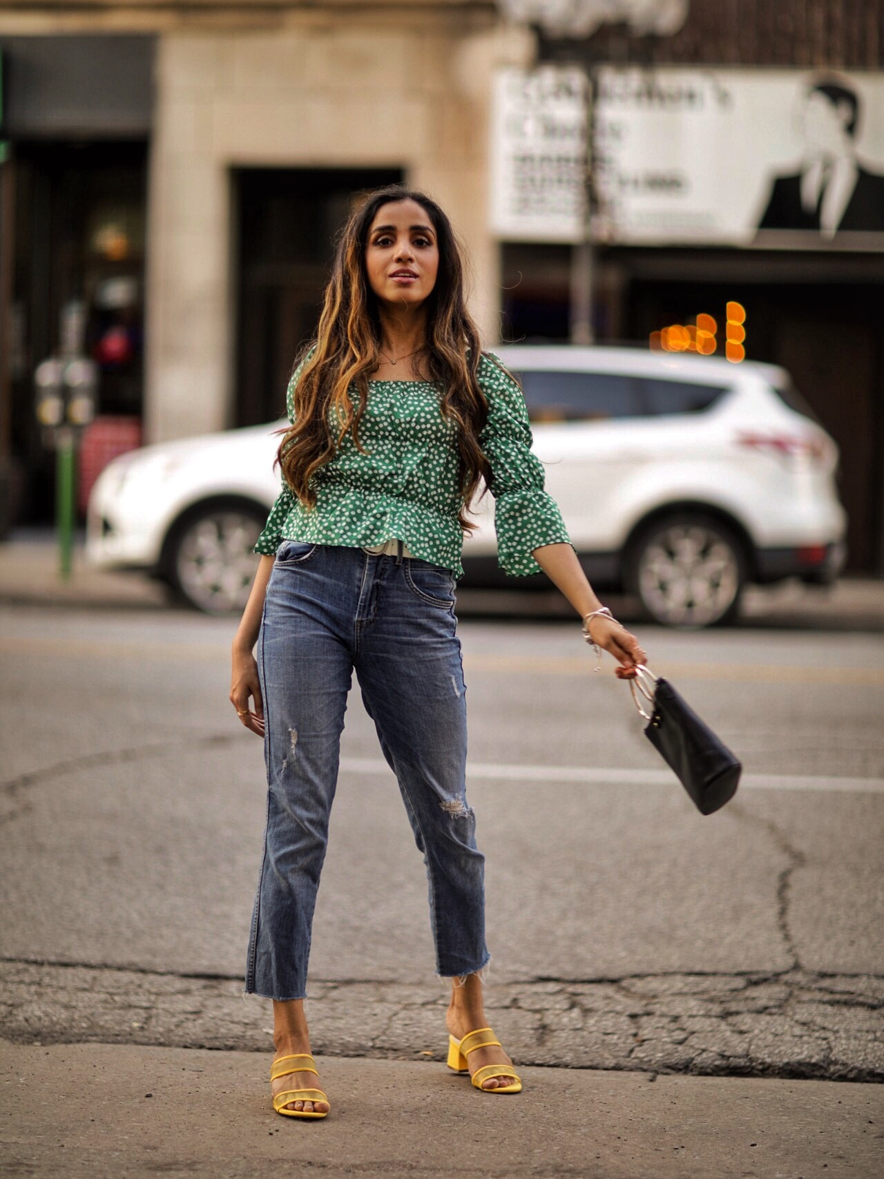 Puffy Sleeves Everyone's Raving About Shein Floral Print Square Neck Blouse Faiza Inam SincerelyHumble Summer Fashion Street Styel 1