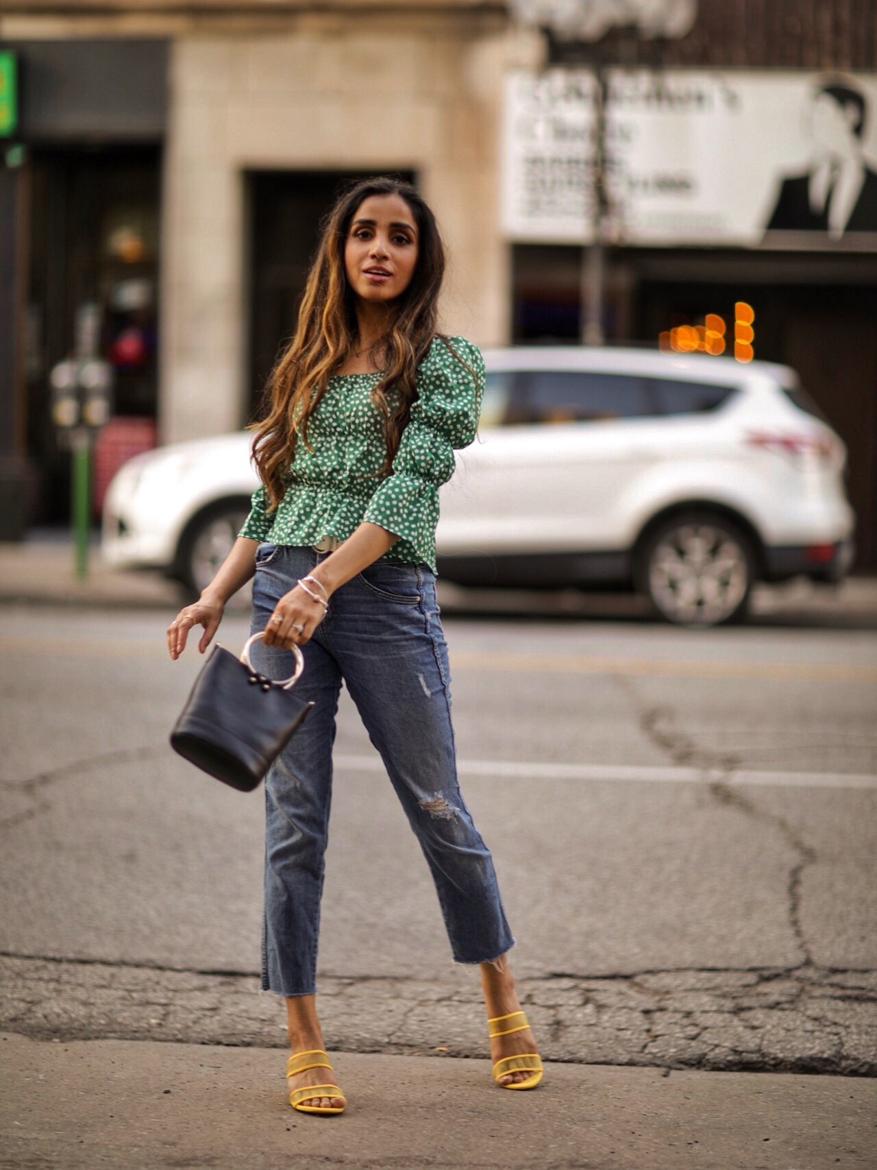 Puffy Sleeves Everyone's Raving About Shein Floral Print Square Neck Blouse Faiza Inam SincerelyHumble Summer Fashion Street Styel 2