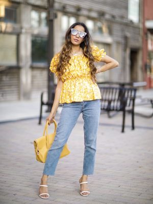 Puffy Sleeves Everyone's Raving About Shein Floral Puff Sleeve Peplum Blouse Faiza Inam SincerelyHumble Summer Fashion 3
