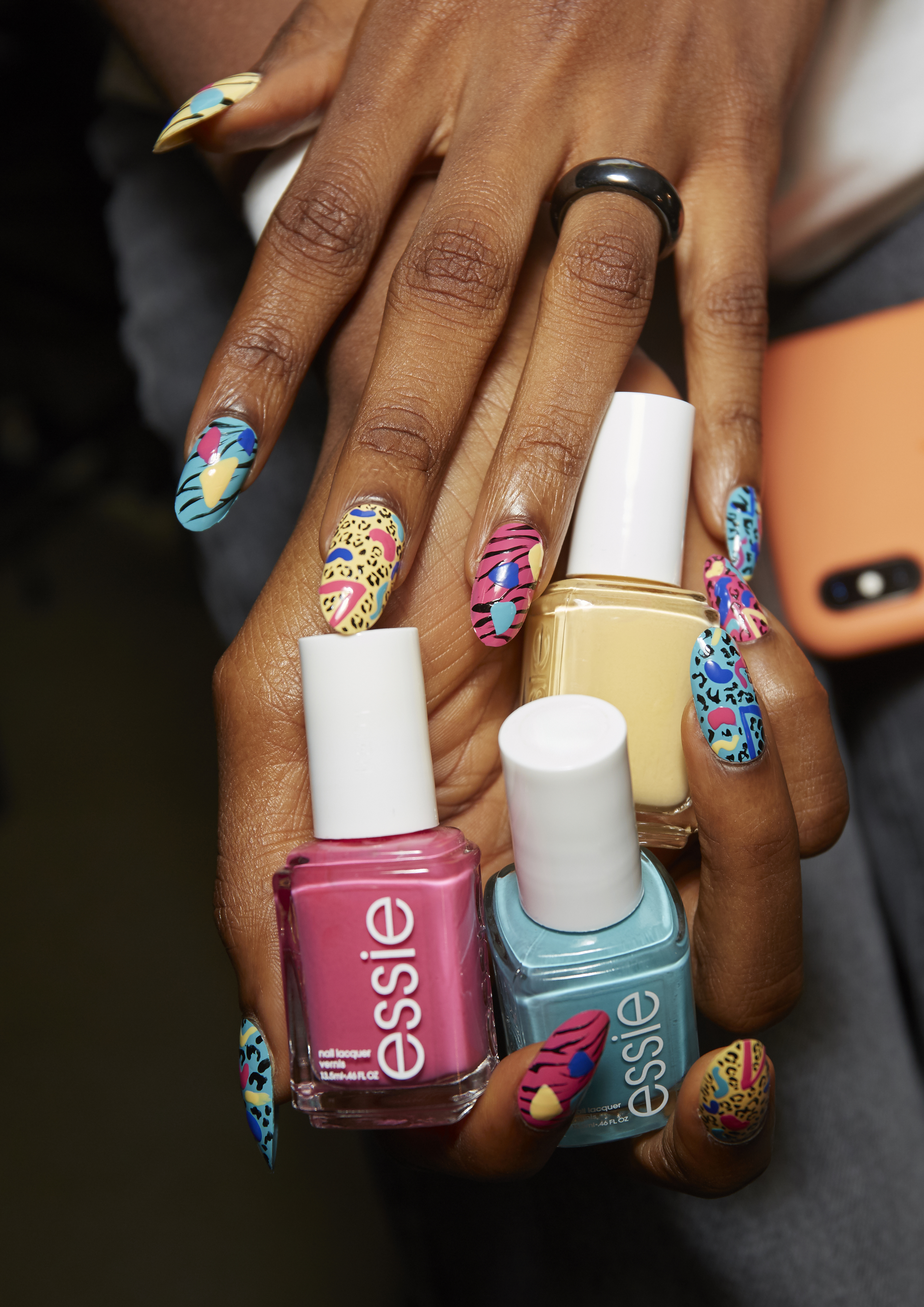 ESSIE FW Sep 2019 Jeremy Scott Graphic Nails Artist Miss Pop Nails NYFW Faiza Inam SincerelyHumble Saturated colors geometric shapes animal prints 1