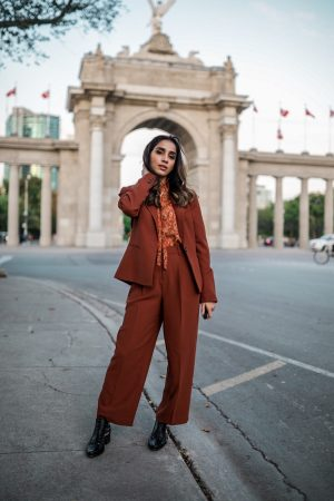 Fall Powersuit for Modern Woman copper Autumn Suit blazer straight pants Simons Toronto Faiza Inam SincerelyHumble blog 4