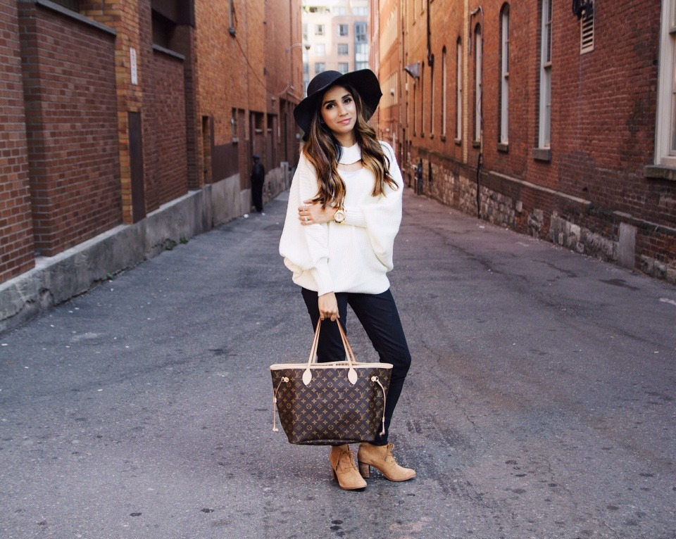 I Wear These Sweaters on Repeat Every Year Faiza Inam SincereluHumble Blog Cutout dolman sweater cozy-sweater-shein-sincerely-humble-faiza-inam-nordstrom-boots-louis-vuitton-1