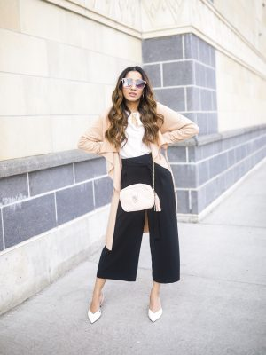 Fall Basics That Can Actually Make You Look Trendy Leather Shoulder Bag button down shirt 2019 trend Faiza Inam 5