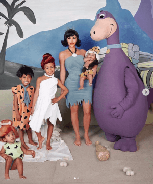 Kim Kardashian 2019 Halloween Costume Costumes flintstones Kanye West North Chicago Saint Psalm West Betty Rubble Wilma Pebbles Best Family Costumes