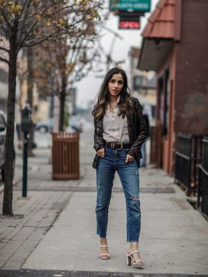 Holiday Outfits Roundup 2019 Nightlife Livin Black Metallic Lace Blazer Faiza Inam 2