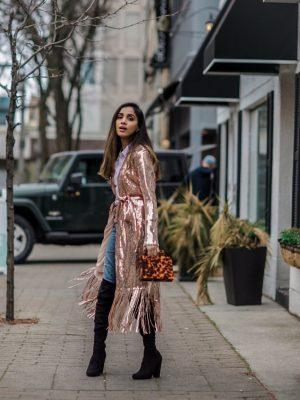 Holiday Outfits Roundup 2019 Rose Gold Sequin Fringe Duster Lulus Faiza Inam 1