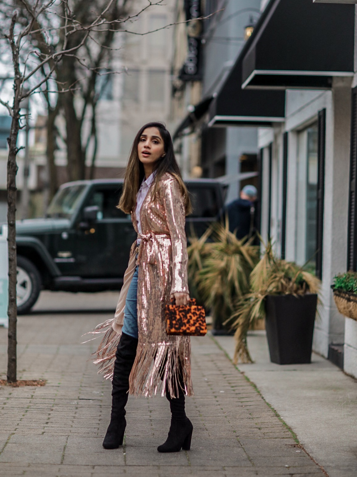 Holiday Outfits Roundup 2019 Rose Gold Sequin Fringe Duster Lulus Faiza Inam 1