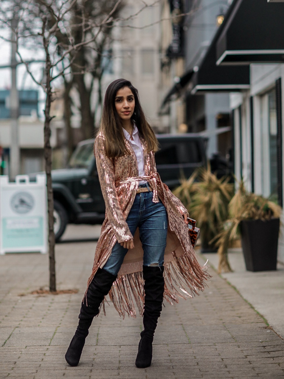 Holiday Outfits Roundup 2019 Rose Gold Sequin Fringe Duster Lulus Faiza Inam 2
