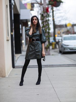 Leather Dress That I Have Been Eyeing On SHEIN X Madelaine Puff Sleeve Button Front PU Dress Faiza Inam Leather dress 2019 trend 2