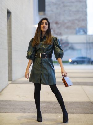 Leather Dress That I Have Been Eyeing On SHEINX Madelaine Puff Sleeve Button Front PU Dress Faiza Inam Leather dress 2019 trend 2