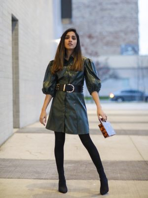 Leather Dress That I Have Been Eyeing On SHEIN X Madelaine Puff Sleeve Button Front PU Dress Faiza Inam Leather dress 2019 trend 444