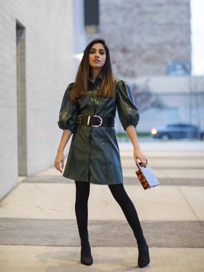 Leather Dress That I Have Been Eyeing On SHEINX Madelaine Puff Sleeve Button Front PU Dress Faiza Inam Leather dress 2019 trend 444