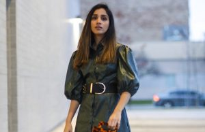 Leather Dress That I Have Been Eyeing On SHEIN X Madelaine Puff Sleeve Button Front PU Dress Faiza Inam Leather dress 2019 trend