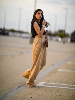 5 Fall Trends to Try Out Under $100 faiza inam high rise wide leg pants sincerely humble blog shoulder pad top 1