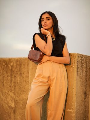 5 Fall Trends to Try Out Under $100 faiza inam high rise wide leg pants sincerely humble blog shoulder pad top 2
