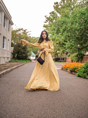 Modest Pieces I am Currently Loving Colettaa Collection Faiza Inam modest clothes look yellow flare pleated neck dress 1