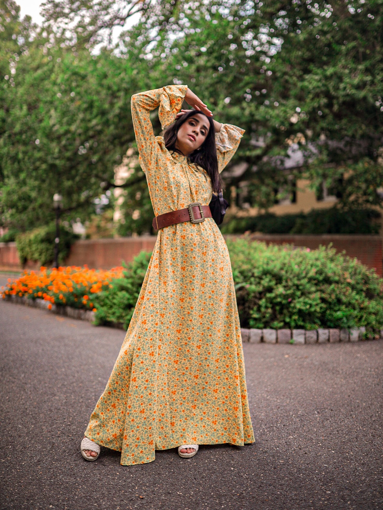Modest Pieces I am Currently Loving Colettaa Collection Faiza Inam modest clothes look yellow flare pleated neck dress 2