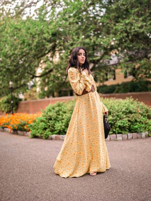 Modest Pieces I am Currently Loving Colettaa Collection Faiza Inam modest clothes look yellow flare pleated neck dress 4